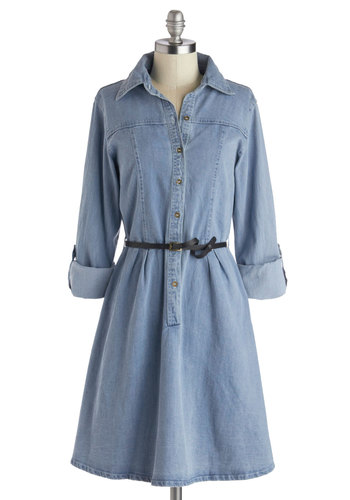 Favorite Rendition Dress - Blue, Solid, Buttons, Casual, A-line, Shirt Dress, Button Down, 3/4 Sleeve, Good, Collared, Cotton, Denim, Woven, Belted, Menswear Inspired, 90s