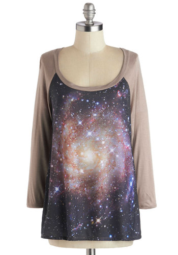 Starry Light Top - Novelty Print, 3/4 Sleeve, Better, Knit, Mid-length, Multi, Blue, Tan / Cream, Casual, Jersey, Scoop, Multi, Long Sleeve, Top Rated