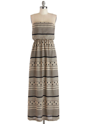 Monochrome Mosaic Dress - Long, Woven, Tan / Cream, Black, Print, Casual, Maxi, Strapless, Good, Pockets