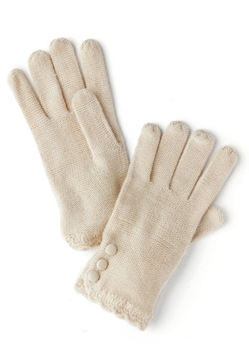 Root Veggie Gloves in Parsnip by Tulle Clothing - Cream, Solid, Buttons, Knitted, Scallops, Fall, Winter, Knit, Variation