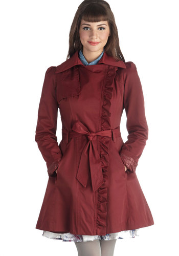 Metropolitan Miss Coat in Wine - Red, Solid, Pockets, Ruffles, Belted, Long Sleeve, Long, 2, Fall, Woven, Red