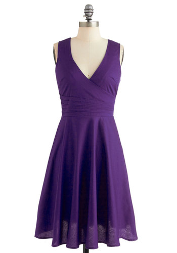 Beguiling Beauty Dress in Purple - Cotton, Woven, Purple, Solid, Party, A-line, Good, V Neck, Mid-length, Pleats, Daytime Party, Bridesmaid, Variation