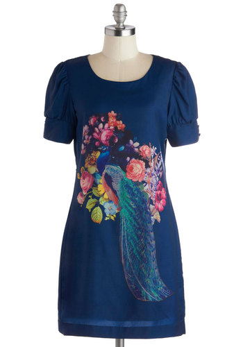 Secret Dinner Party Dress - Blue, Multi, Print with Animals, Shift, Short Sleeves, Better, Scoop, Mid-length, Woven, Casual