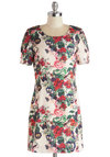 Fronds and Family Dress - Cream, Multi, Floral, Daytime Party, Sheath / Shift, Short Sleeves, Better, Scoop, Satin, Woven, Mid-length, Press Placement