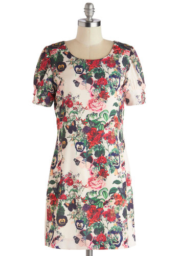 Fronds and Family Dress - Cream, Multi, Floral, Daytime Party, Sheath / Shift, Short Sleeves, Better, Scoop, Satin, Woven, Mid-length