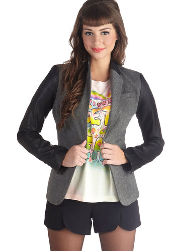 Networking the Crowd Blazer - Grey, Work, Menswear Inspired, Long Sleeve, Good, Faux Leather, Woven, Mid-length, 2, Solid, Pockets, Grey