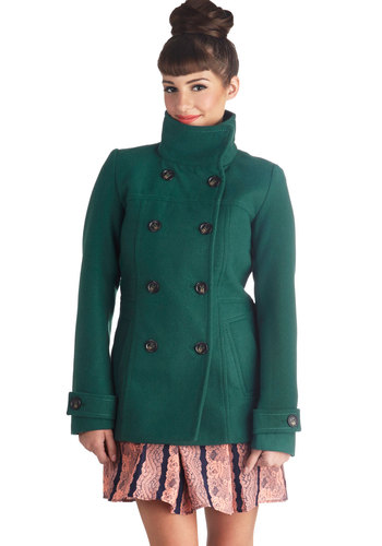 Brisk Beginnings Coat - Mid-length, 3, Green, Solid, Buttons, Pockets, Double Breasted, Long Sleeve, Fall, Green, Gifts Sale