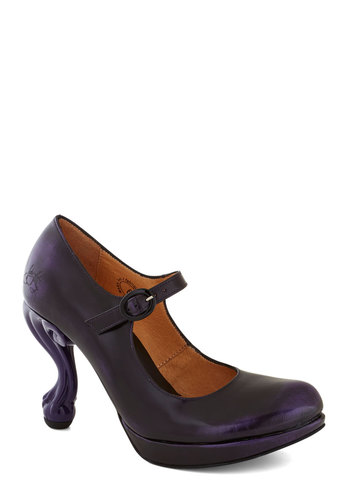 John Fluevog Best Claw-Foot Forward Heel in Amethyst Sky by John Fluevog - Purple, Solid, Luxe, Statement, High, Mary Jane, Leather, Party, Cocktail, Quirky, Best, 20s, Folk Art