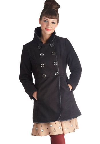 Stylish on the Sidelines Coat - Black, Solid, Bows, Buttons, Long Sleeve, Good, Long, Pockets, Double Breasted, 3, Black