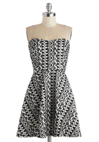 Distinct Self Dress - Short, Knit, Black, White, Print, Party, A-line, Strapless, Good, Sweetheart