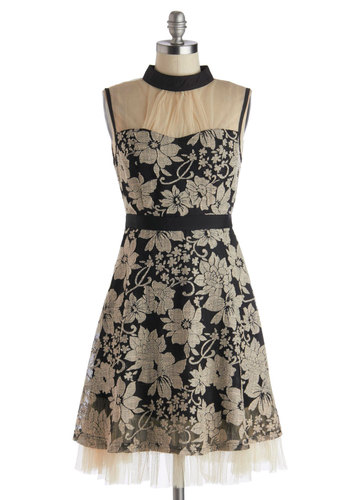 Botanical Banquet Dress by Ryu - Black, Tan / Cream, Floral, Lace, A-line, Sleeveless, Better, Mid-length, Sheer, Woven, Party, Vintage Inspired