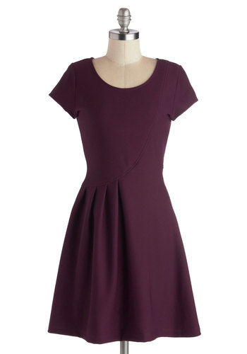Prim and Proposal Dress - Knit, Mid-length, Purple, Solid, Pleats, A-line, Short Sleeves, Good, Scoop, Casual