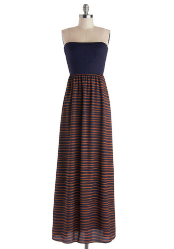 Strata Acquisition Dress - Knit, Woven, Long, Blue, Orange, Stripes, Casual, Maxi, Strapless, Good