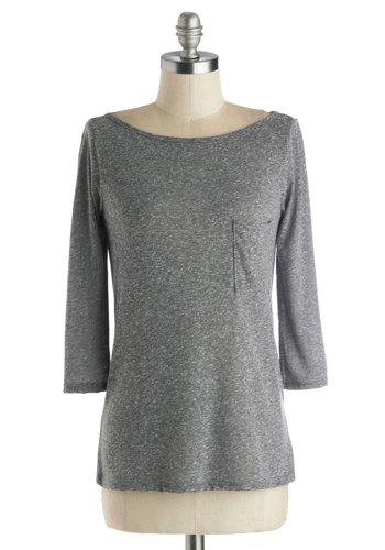 Usual Route Top in Grey - Grey, Solid, 3/4 Sleeve, Good, Mid-length, Knit, Jersey, Pockets, Casual, Variation, Boat, Grey, 3/4 Sleeve, Top Rated
