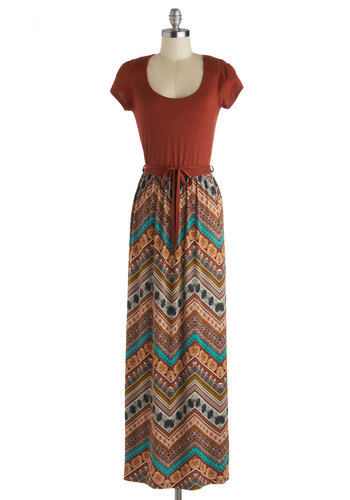 Sunset for Success Dress - Chevron, Crochet, Casual, Maxi, Short Sleeves, Good, Scoop, Long, Knit, Orange, Multi, Print, Belted, Boho, Vintage Inspired, 60s, 70s, Twofer