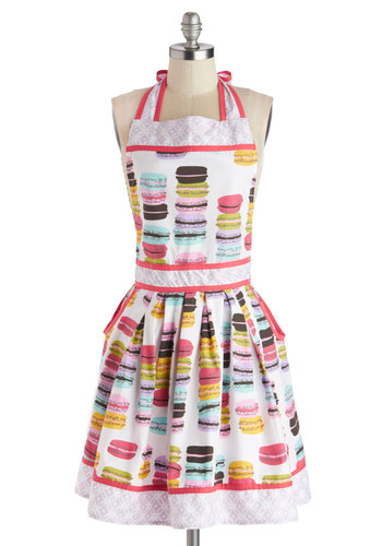 Macaron Maker Apron - Cotton, Multi, Novelty Print, Good, Pockets, French / Victorian