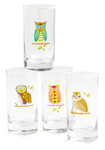 Tuft Stuff Glass Set - Multi, Owls, Good, Print with Animals, Wedding