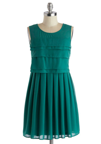 Arbored Entrance Dress - Short, Chiffon, Woven, Sheer, Green, Solid, Pleats, Tiered, Party, A-line, Sleeveless, Good, Scoop, 20s
