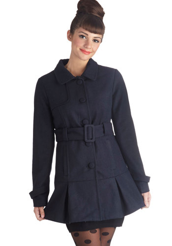 Ferry and Square Coat by Jack by BB Dakota - 3, Blue, Solid, Buttons, Pleats, Pockets, Collared, Long, Belted, Blue