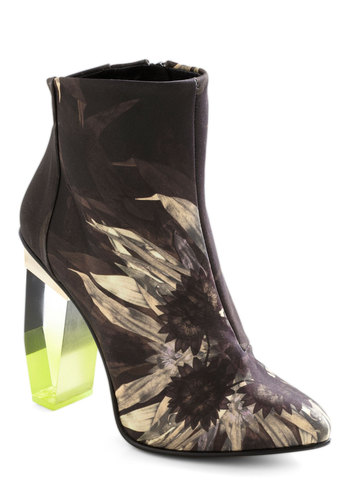 Exquisite Exhibit Bootie - Purple, Print, Statement, High, Best, Chunky heel, Yellow, Tan / Cream, Neon