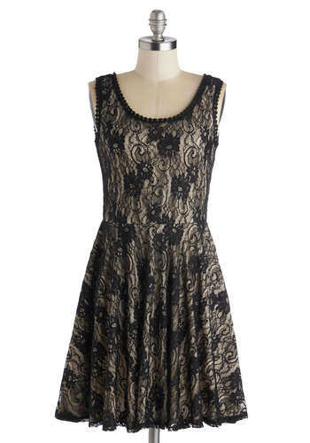 Halcyon Hostess Dress - Mid-length, Black, Tan / Cream, Lace, Party, A-line, Tank top (2 thick straps), Good, Scoop
