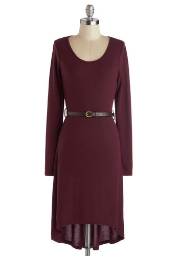 Let's Talk Tech Dress in Burgundy - Red, Solid, Belted, Casual, Minimal, Sweater Dress, Long Sleeve, Mid-length, Knit, Variation, Scoop, Winter