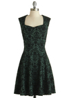 The Pine Room Dress - Green, Black, Print, Party, A-line, Sleeveless, Knit, Exclusives, Sweetheart, 20s, Mid-length, Winter, Holiday Party