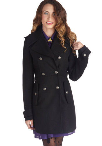 Tour de Forts Coat - 3, Black, Solid, Buttons, Pockets, Double Breasted, Military, Black, Long
