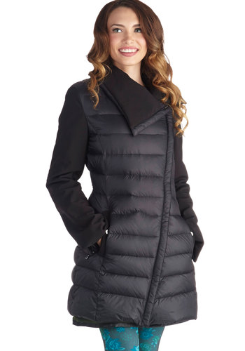 My Kind of Town Coat by Steve Madden - 4, Black, Solid, Pockets, Good, Quilted, Long, Black