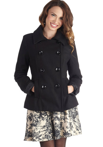 Comedy Theater Buff Coat - 2, Black, Solid, Buttons, Pockets, Double Breasted, Military, Black, Mid-length