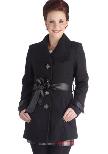 Dashing in Des Moines Coat - Long, Woven, 3, Black, Solid, Buttons, Belted, Black, Gifts Sale