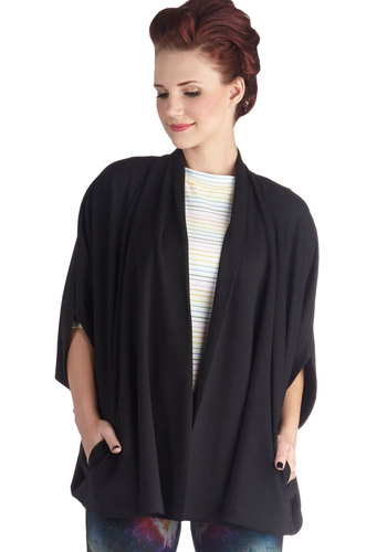 Day and Nightfall Cape - Mid-length, Knit, Black, Solid, Pockets, Black