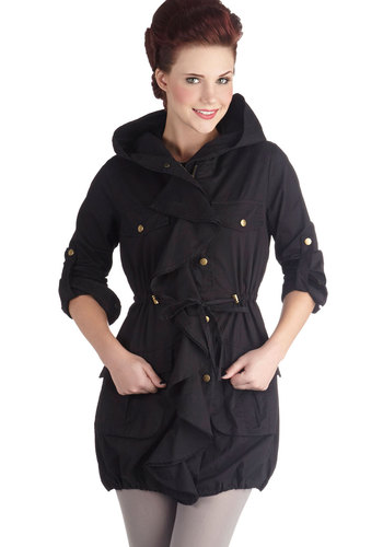 Toutes Mes Amies Coat - Cotton, Woven, Long, 2, Black, Solid, Pockets, Ruffles, Long Sleeve
