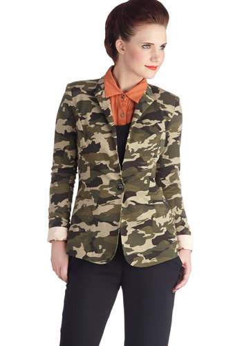 Hidden Talent Blazer - Mid-length, 1, Print, Casual, Military, Long Sleeve, Green, Multi