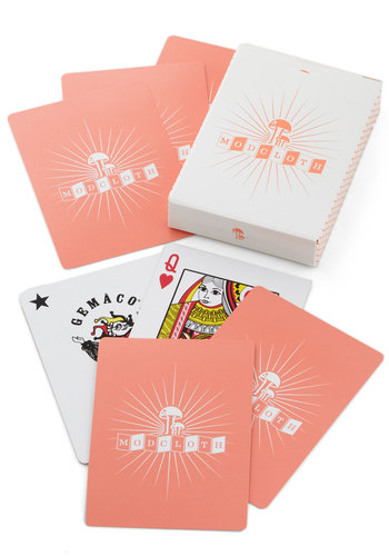 Decked Out for the Evening Playing Cards - Coral, White, Novelty Print