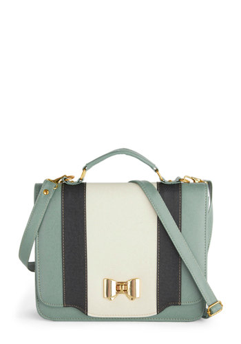Doctor's Day Off Bag - Mint, Black, White, Solid, Bows, Colorblocking, International Designer, Work, Faux Leather