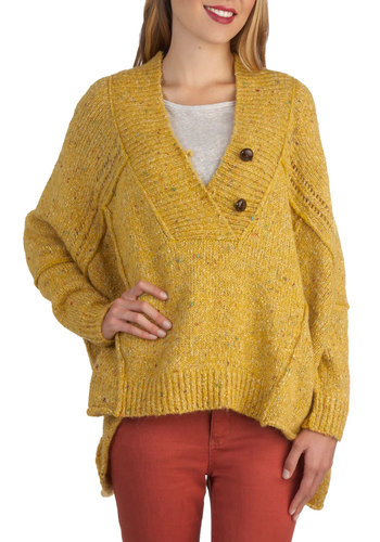 Precious Goldenrod Sweater - Yellow, Better, Long Sleeve, Knit, Mid-length, Casual, Solid, Buttons, V Neck, Yellow, Long Sleeve