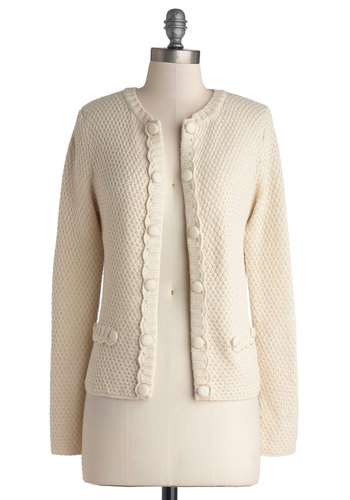 Morning Chai Cardigan by Tulle Clothing - Cream, Solid, Buttons, Long Sleeve, Short, Knit, Work, Daytime Party, White, Long Sleeve