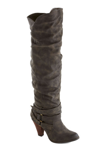 Pavement to Be Boot - Grey, Solid, Buckles, Over the Knee, Better, Faux Leather, Mid, Ruching