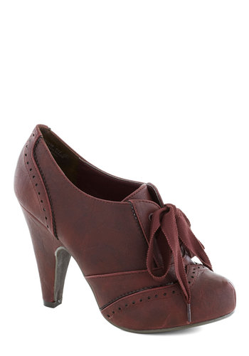 Chaise of Pace Heel in Merlot - Red, Solid, Vintage Inspired, 20s, 30s, Variation, High, Good, Platform, Lace Up, Faux Leather