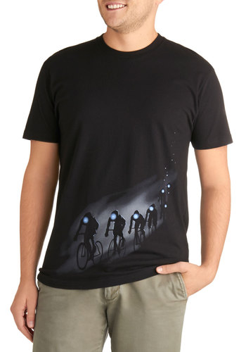 Headlight the Way Men's Tee - Black, Novelty Print, Casual, Short Sleeves, Crew, Mid-length, Jersey, Cotton, Knit, Guys