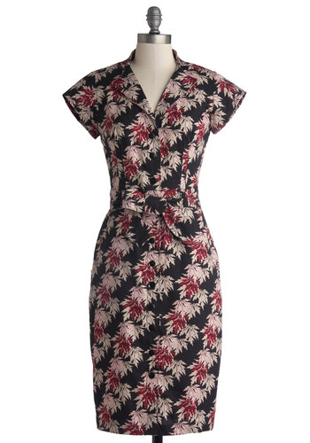 Bloom by Moonlight Dress in Leaves - Long, Cotton, Woven, Print, Pockets, Casual, Sheath / Shift, Cap Sleeves, Better, Collared, Multi, Red, Pink, Tan / Cream, Black, Buttons, Belted, Work, Variation