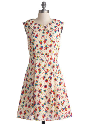 Refreshing Zephyr Dress - Mid-length, Cream, Multi, Floral, Peter Pan Collar, Casual, A-line, Sleeveless, Good, Collared, Vintage Inspired