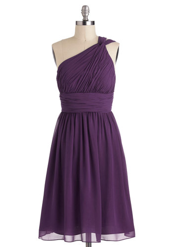 Moonlight Marvel Dress in Plum - Purple, Solid, Ruching, Special Occasion, Prom, Wedding, Cocktail, Bridesmaid, A-line, One Shoulder, Variation, Long, Chiffon, Woven