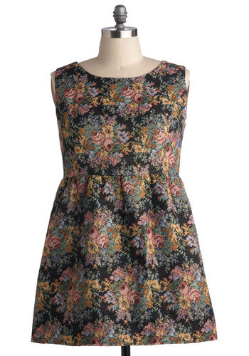 What a Speech Dress in Plus Size - Woven, Floral, Casual, A-line, Sleeveless, Good, Scoop, Multi, Party, Gifts Sale