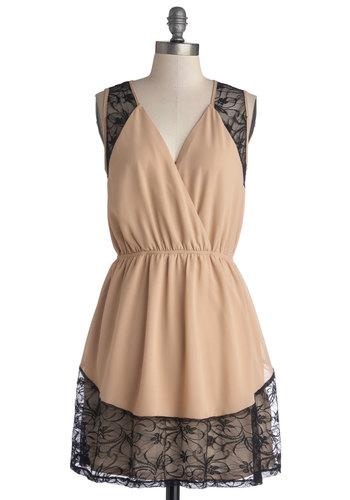 Stylish Celebration Dress - Short, Woven, Pink, Black, Cutout, Lace, Party, A-line, Sleeveless, Good, V Neck, 20s