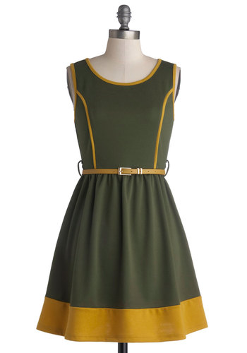With Open Farms Dress - Short, Knit, Green, Yellow, Trim, Belted, Casual, A-line, Tank top (2 thick straps), Good, Scoop
