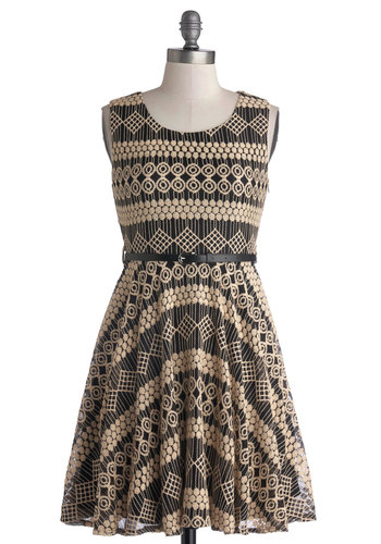 Conservatory Companion Dress - Tan / Cream, Print, Belted, A-line, Sleeveless, Mid-length, Knit, Black, Party, Scoop