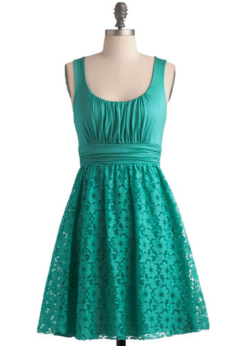 Spearmint Iced Tea Dress - Best Seller, Short, Jersey, Knit, Green, Solid, Lace, Casual, A-line, Tank top (2 thick straps), Good, Scoop, Daytime Party, Variation, Party, 90s, Top Rated
