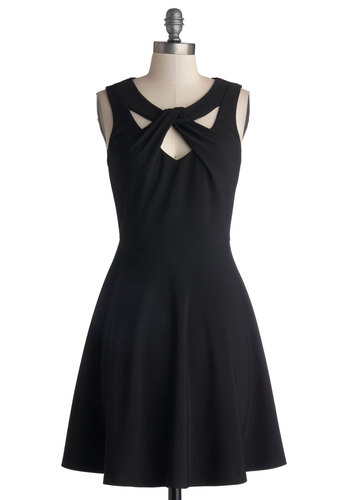 Figure Skate Fab Dress - Woven, Mid-length, Black, Solid, Cutout, Party, A-line, Sleeveless, Good, Scoop, LBD